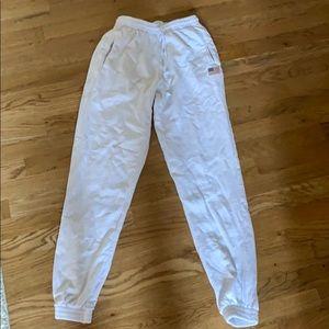 Brandy Melville White Rosa Sweatpants